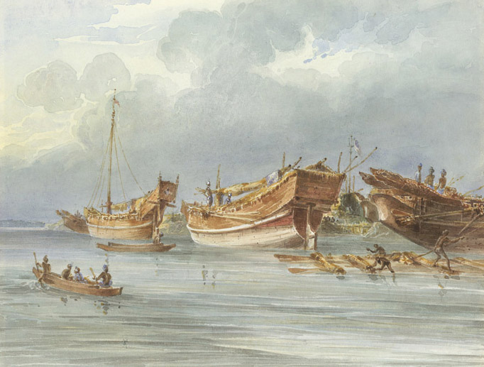 Ships moored off Chittagong in the late 1820s by Thomas Prinsep